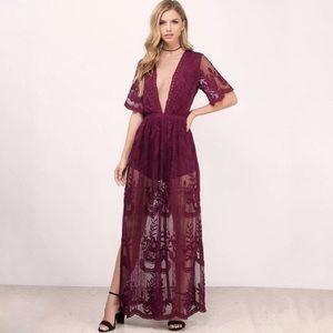 Honey Punch maroon lace romper with lace overlay